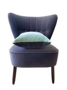 duck egg velvet cushion with dark grey by luxe 39
