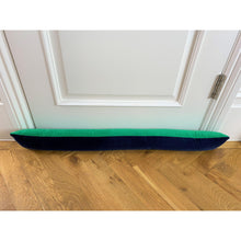 emerald green velvet draft excluder with navy