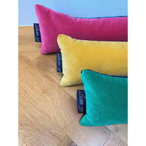 velvet draft excluders with Luxe 39 labels