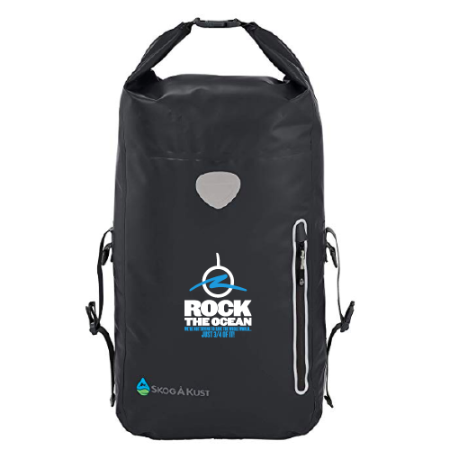 Black Waterproof Backpack - Rock The Ocean Logo and Tagline on Front