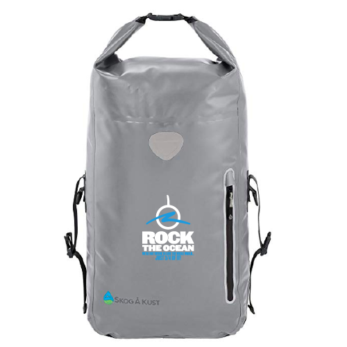 Grey Waterproof Backpack - Rock The Ocean Logo and Tagline on Front