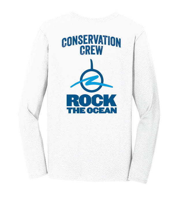 Conservation Crew White Long Sleeve - Back View