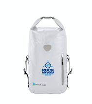 White Waterproof Backpack - Rock The Ocean Logo and Tagline on Front