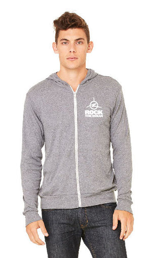Synchronicity Grey Triblend Full Zip Hoodie- Front View