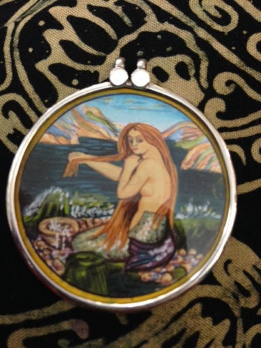 MERMAID ORIGINAL PAINTING Pendant NOT PRINT necklace 40mm WATERFORD