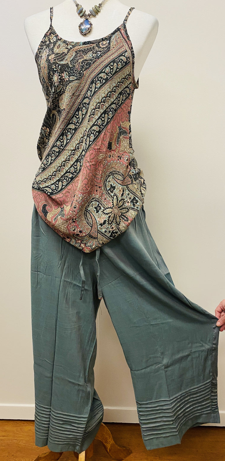 Cotton/ Linen mix pants with Indian Pleat detail on cuffs