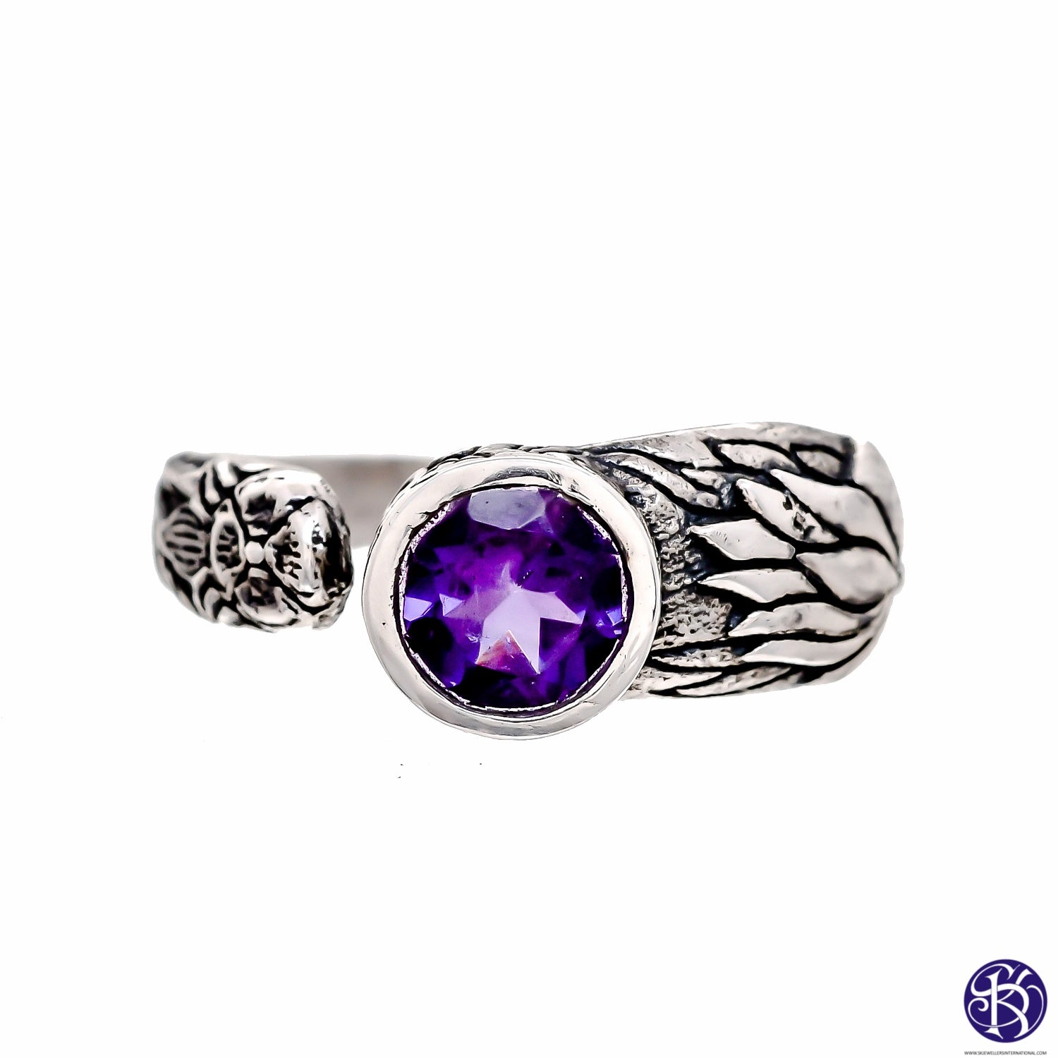 Beautifully Detailed Sterling Silver Hand carved Lotus Flower wrap ring -- Available in 5 stones