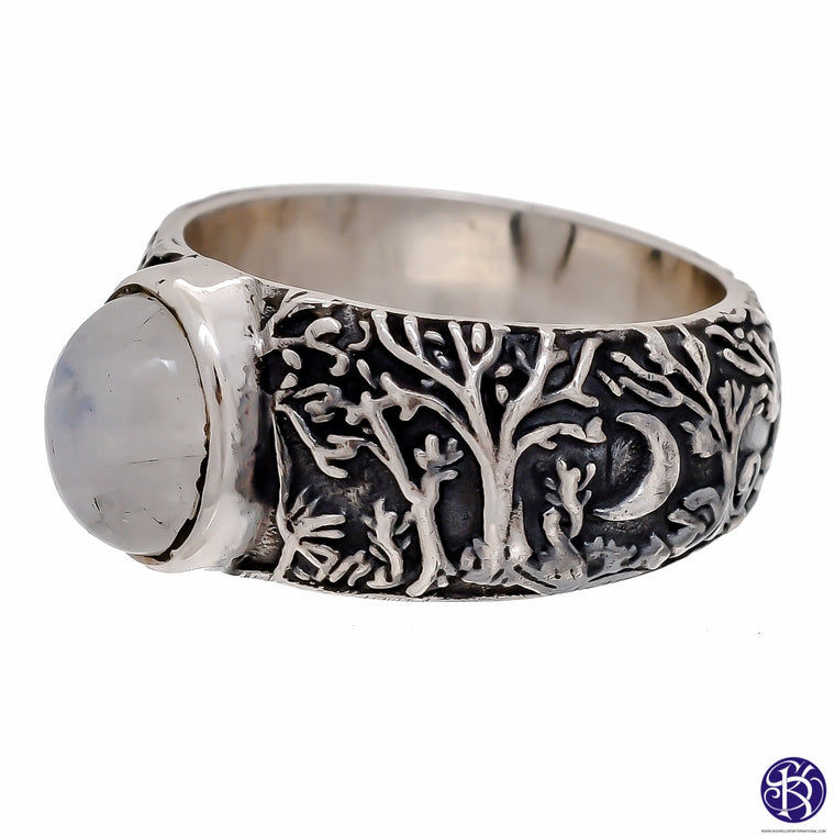 Sterling Silver Wood Forest Rings wit stones (925) Mens Sizes Available in 3 stones!