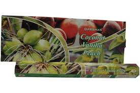 Darshan Coconut Vanilla Peach Incense 20 stick Hex Pack
