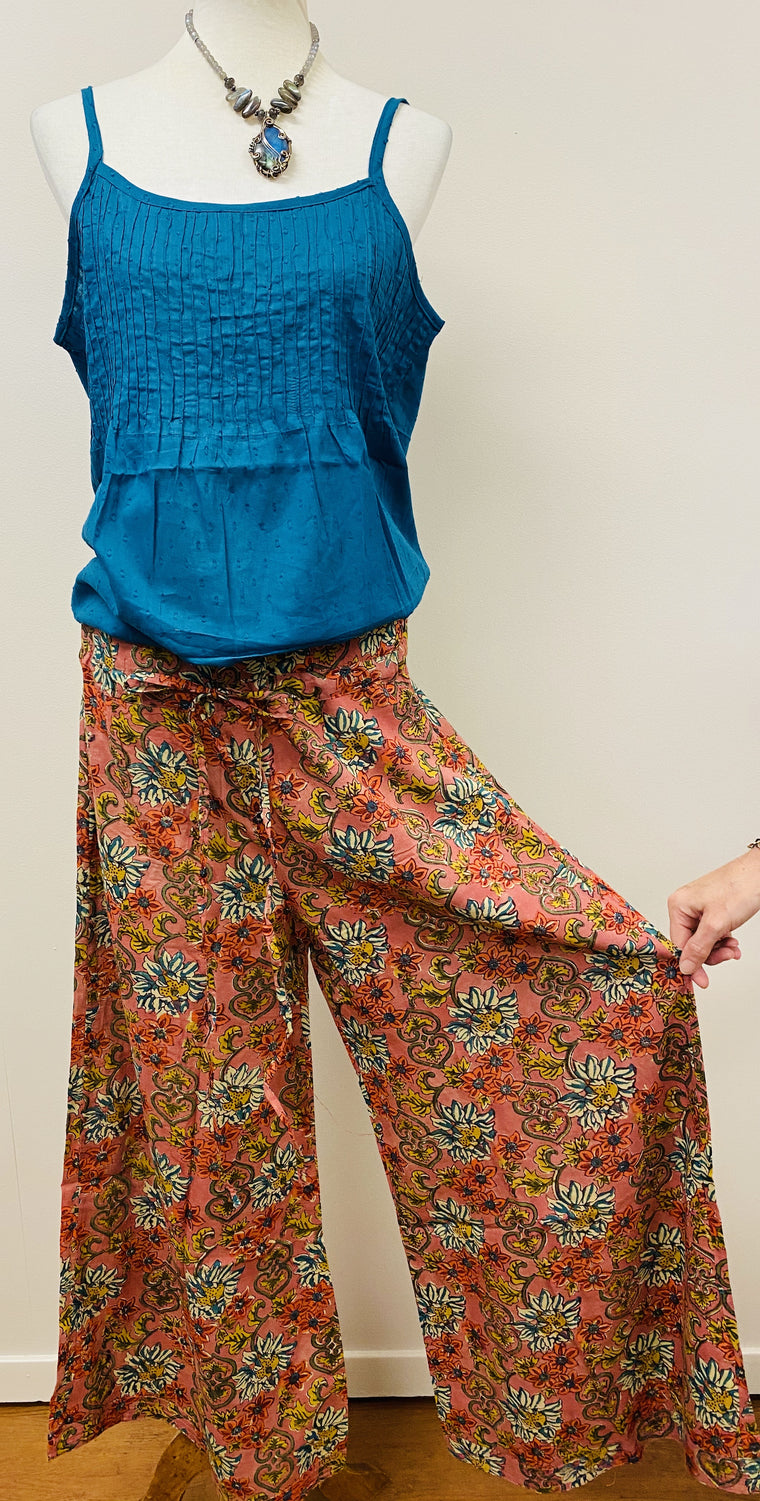 Hand Block Print Cotton Wide Leg Drawstring Pants - 2 Patterns Available