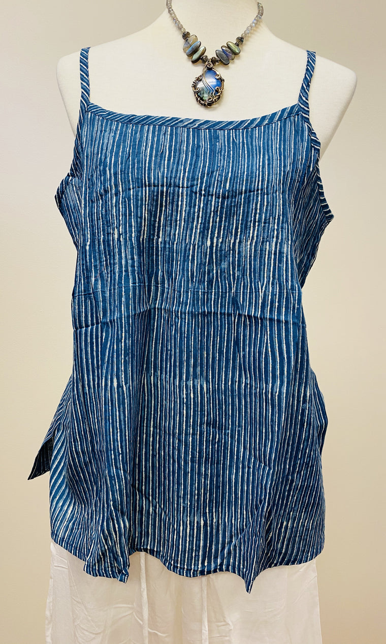 Hand Block Print Indigo Cotton Tank Top with pleated detail on top - 4 Patterns Available
