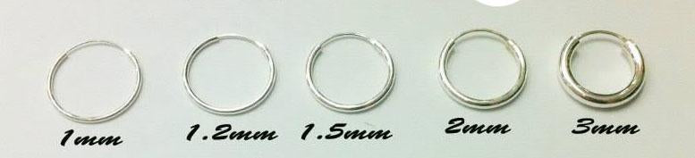 Sterling Silver Hoop Earrings 2 mm Thickness