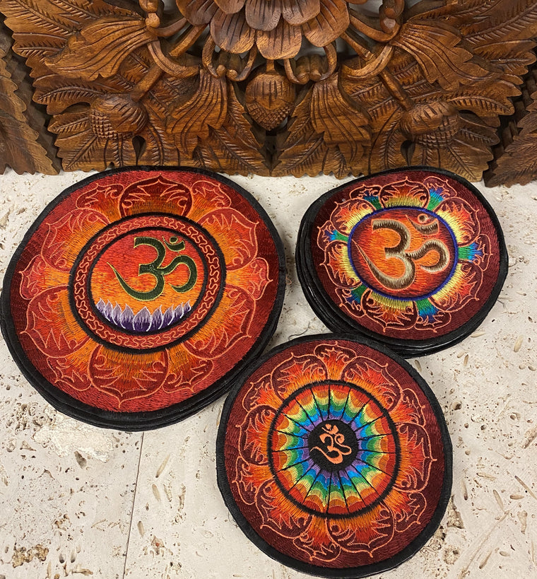 Handmade Fire Om Mandala Embroidered Patches from Nepal