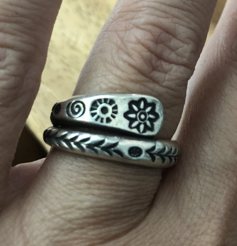 Handmade Sterling Silver Thai Hill Tribe Etched Wrap Rings 6 Designs