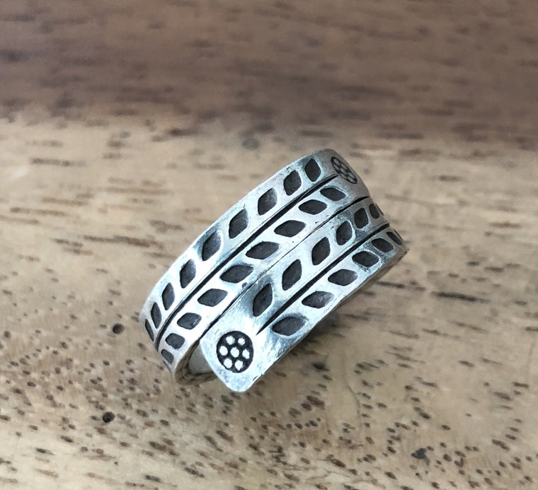 Handmade Sterling Silver Thai Hill Tribe Hammered Wrap Ring Adjustable 7 to 9