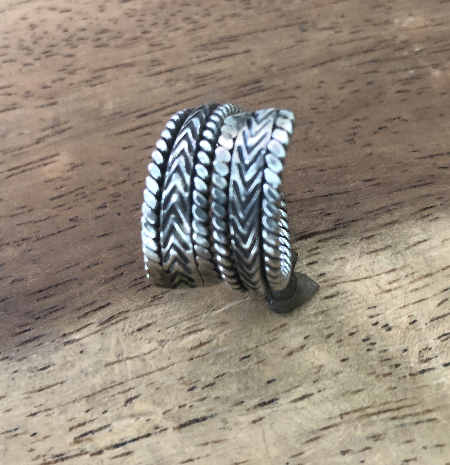 Handmade Sterling Silver Thai Hill Tribe Braided Wrap Ring