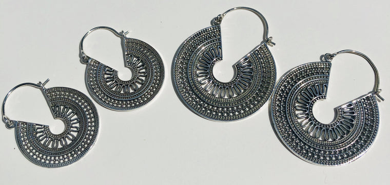 Sterling Silver Tribal Rajasthani Hoop Earrings from India