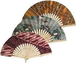 Balinese Batik Fabric Hand Fan's Assorted Fabrics - 2 Sizes