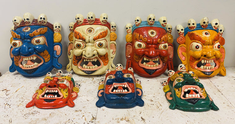 Hand Carved and Painted Bhairav Mask From Nepal Guardian of the Wheel of Life - Small & Medium