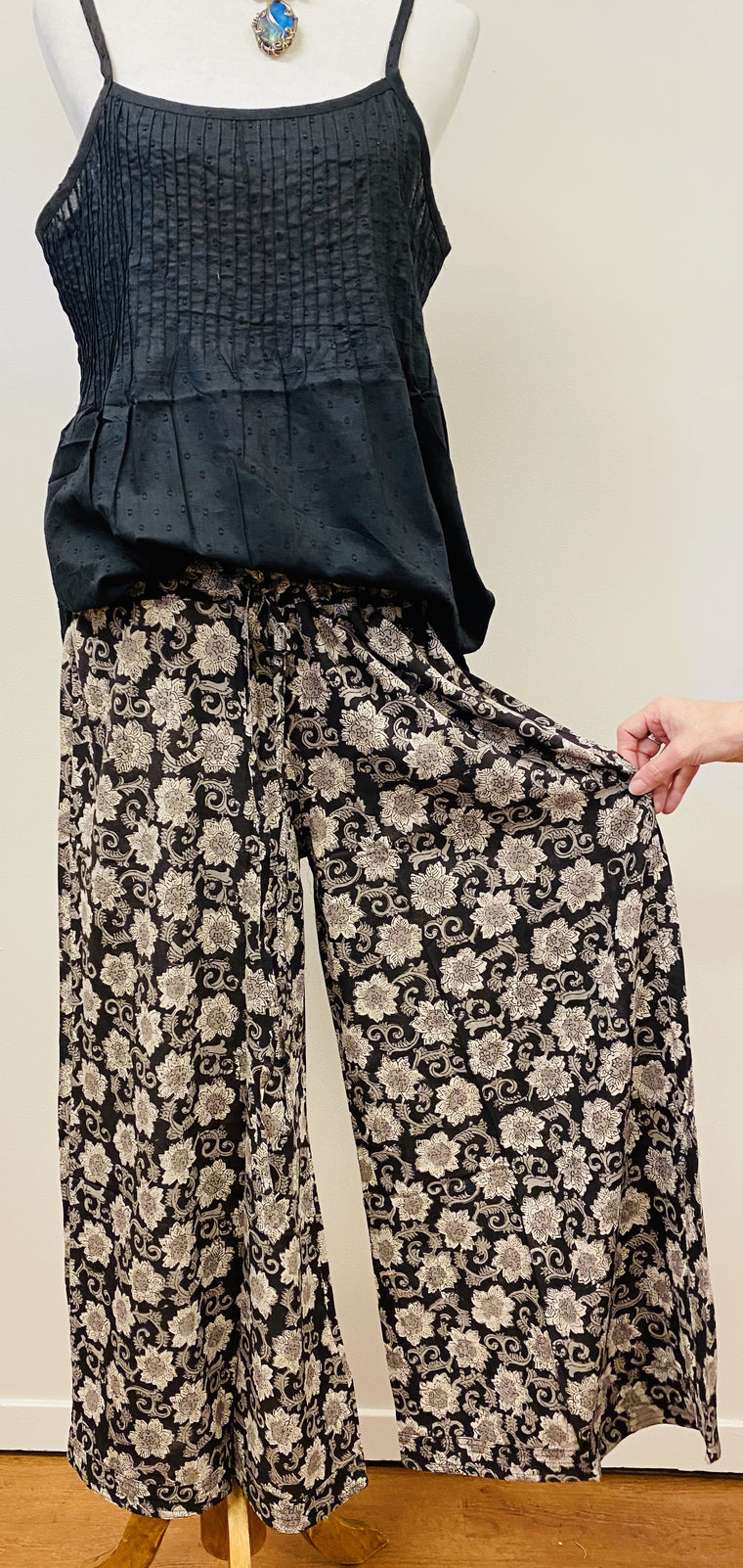 Hand Block Print Cotton Wide Leg Drawstring Pants - 4 Patterns Available