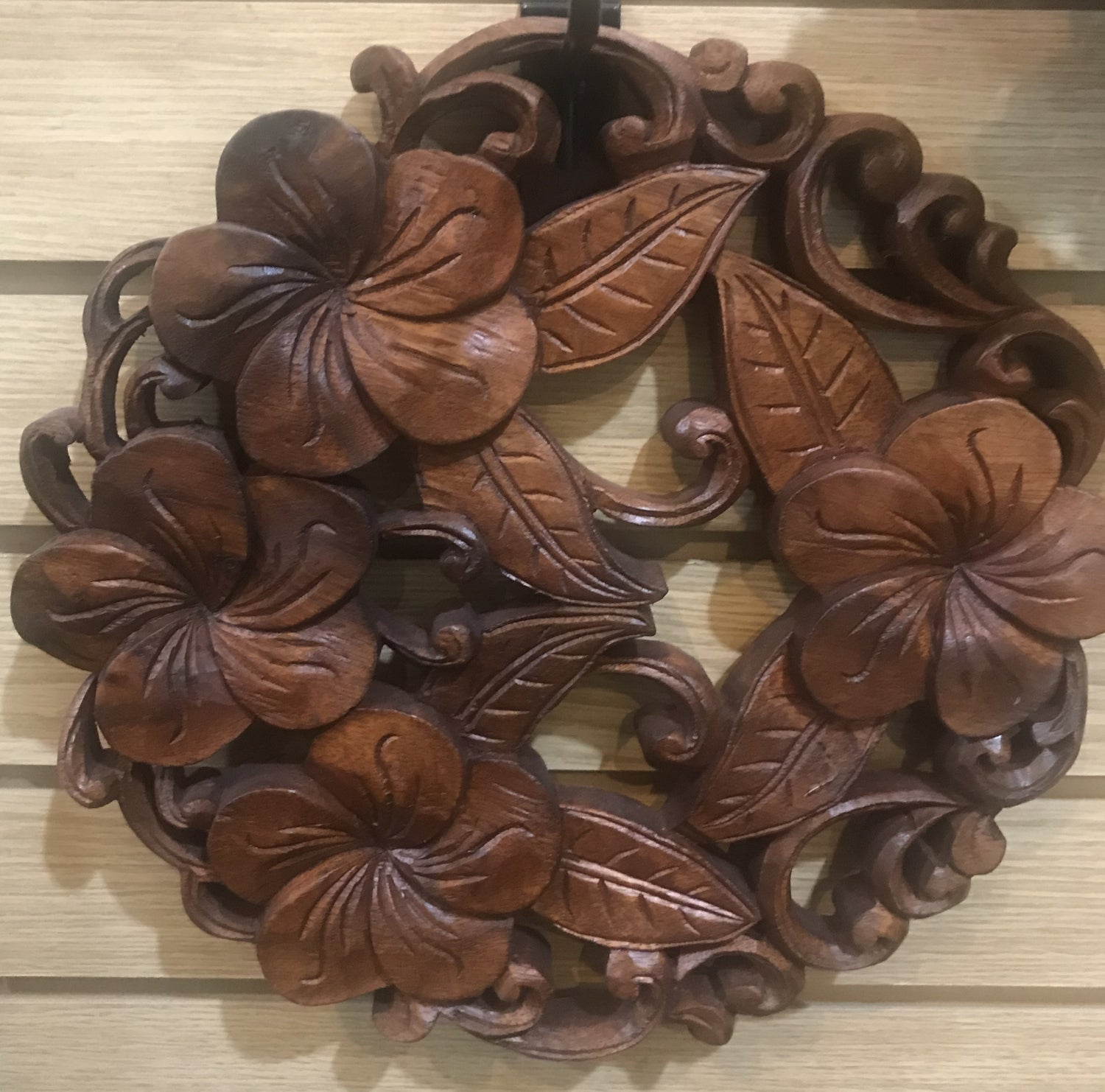 Hand Carved Hibiscus Mandala wall hanging 12""