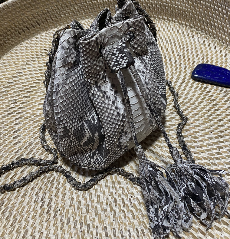 Womens Python Leather / Snake Skin Bucket Purse