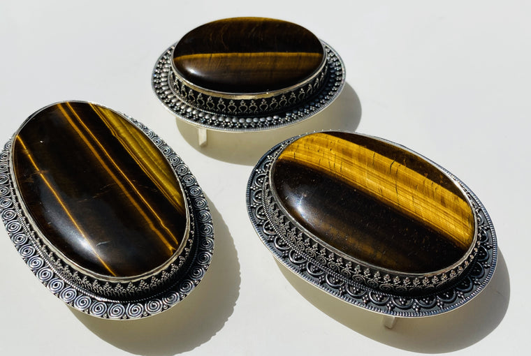 Handmade Sterling Silver Tiger Eye Belt Buckles