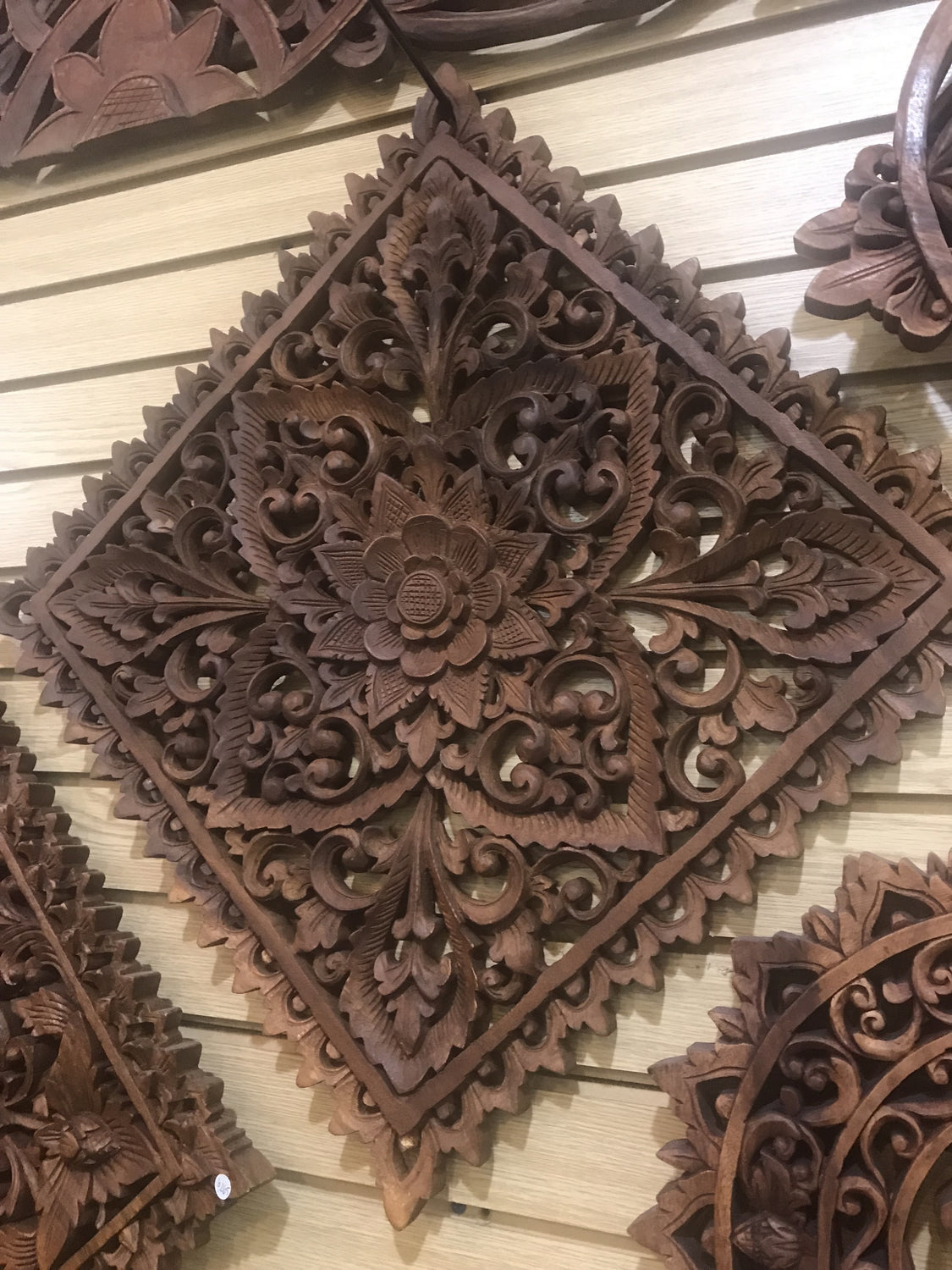 Hand Carved Lotus Flower Mandala wall hanging Square 20""