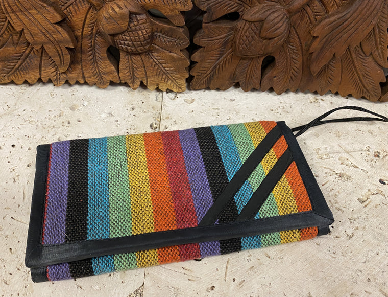 Cotton Rainbow or Rasta Folding Wallet