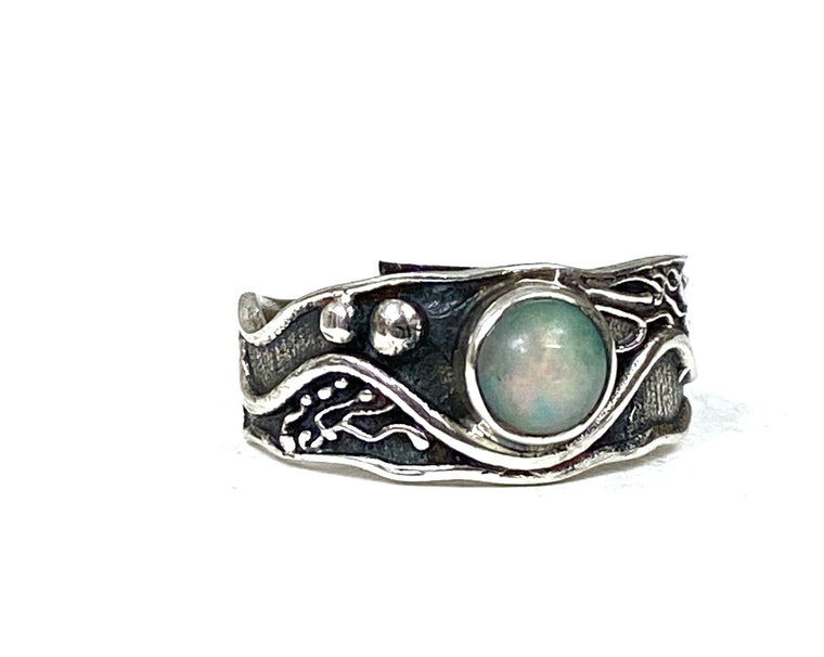 Sterling Silver Abstract Ring in Ethiopian Opal