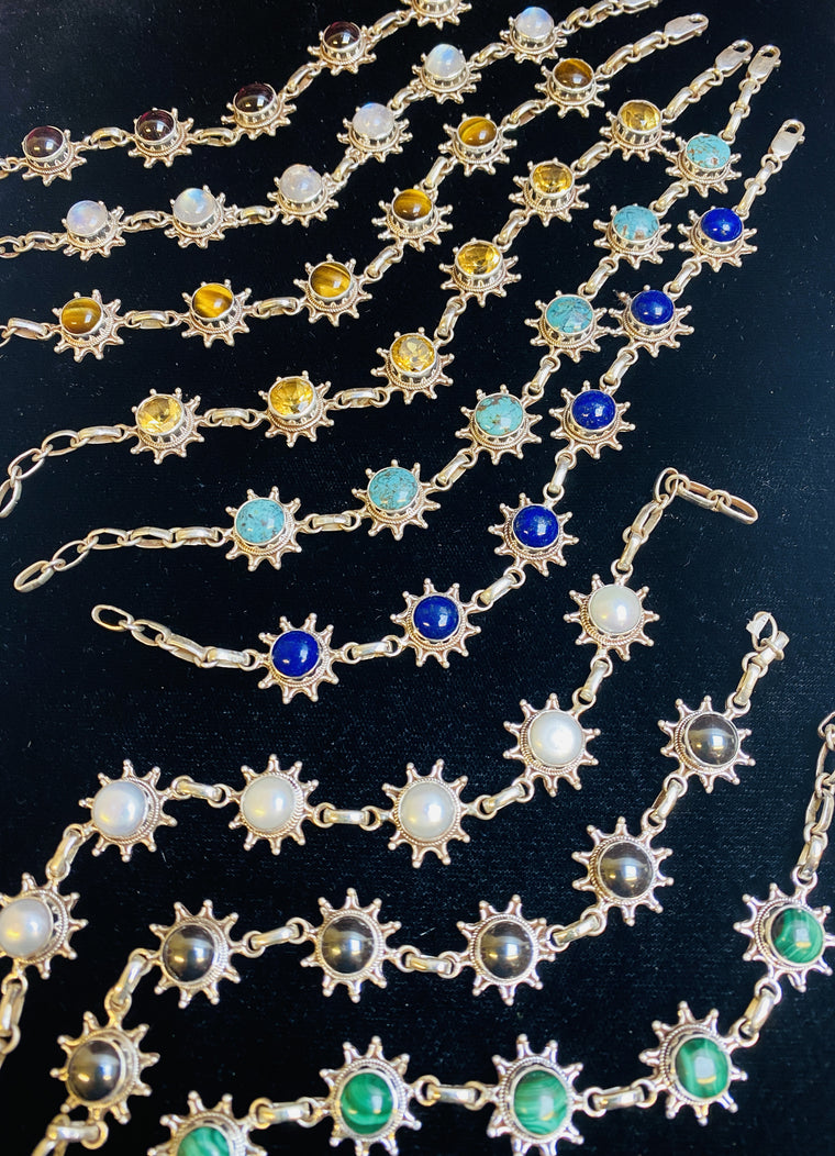 Sterling Silver 6 Stone Sun Bracelets from Nepal - Available in 9 stones