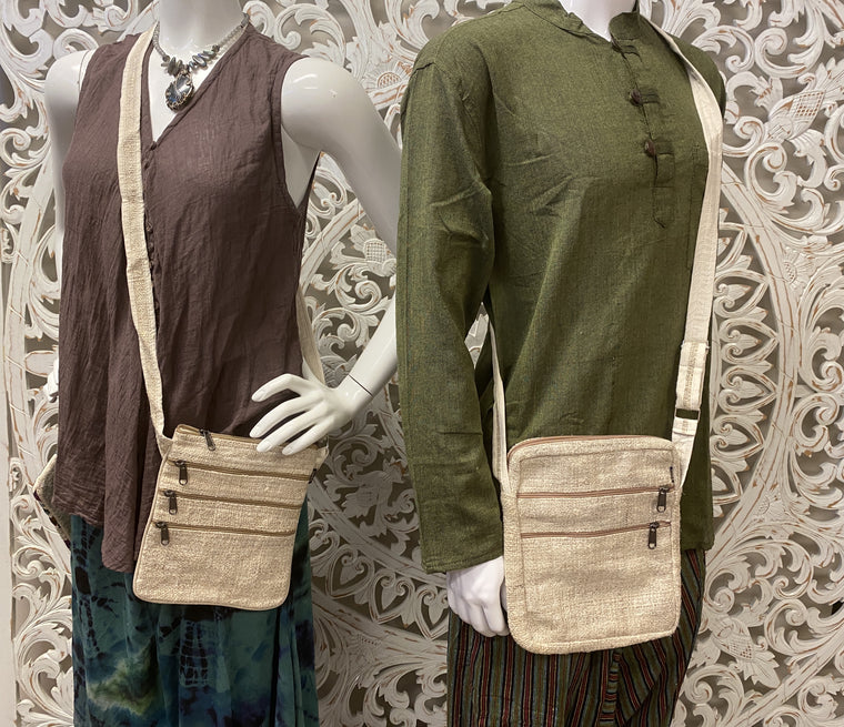 Multi Pocket Unisex 100% Hemp Shoulder Bags - Available in 2 styles