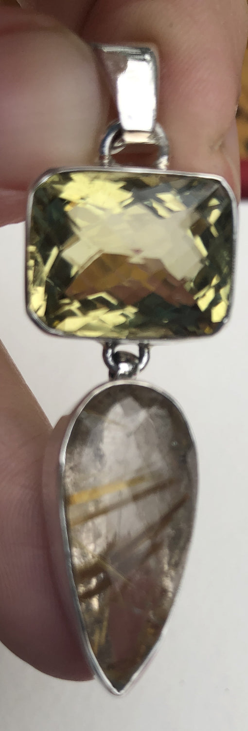 Sterling Silver Faceted Citrine & Rutilated Quartz Pendant