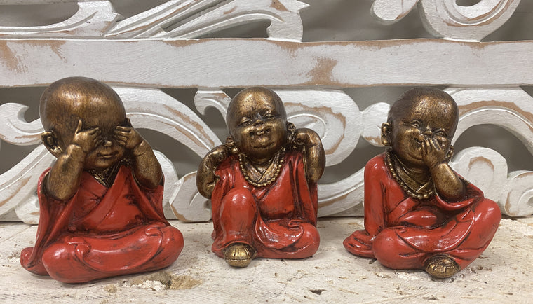 Set of 3 Hand Painted Resin See no evil, Speak no Evil, Hear no evil Statues - Available in 3 colors