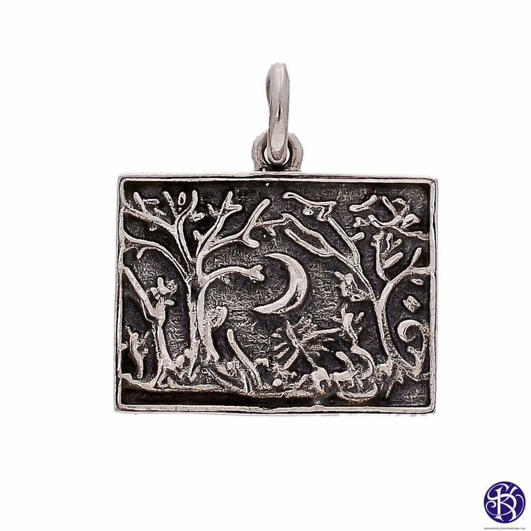 Sterling Silver Cresent Moon Forest Tree Pendant