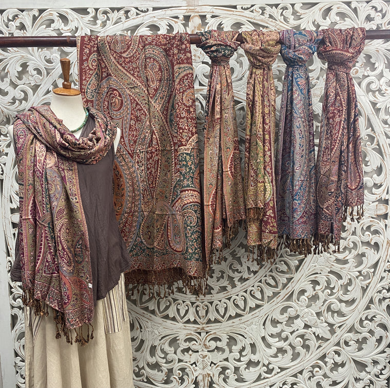 Silky Soft Pashmina Scaves w Paisley Swirls - Available in 6 Colors