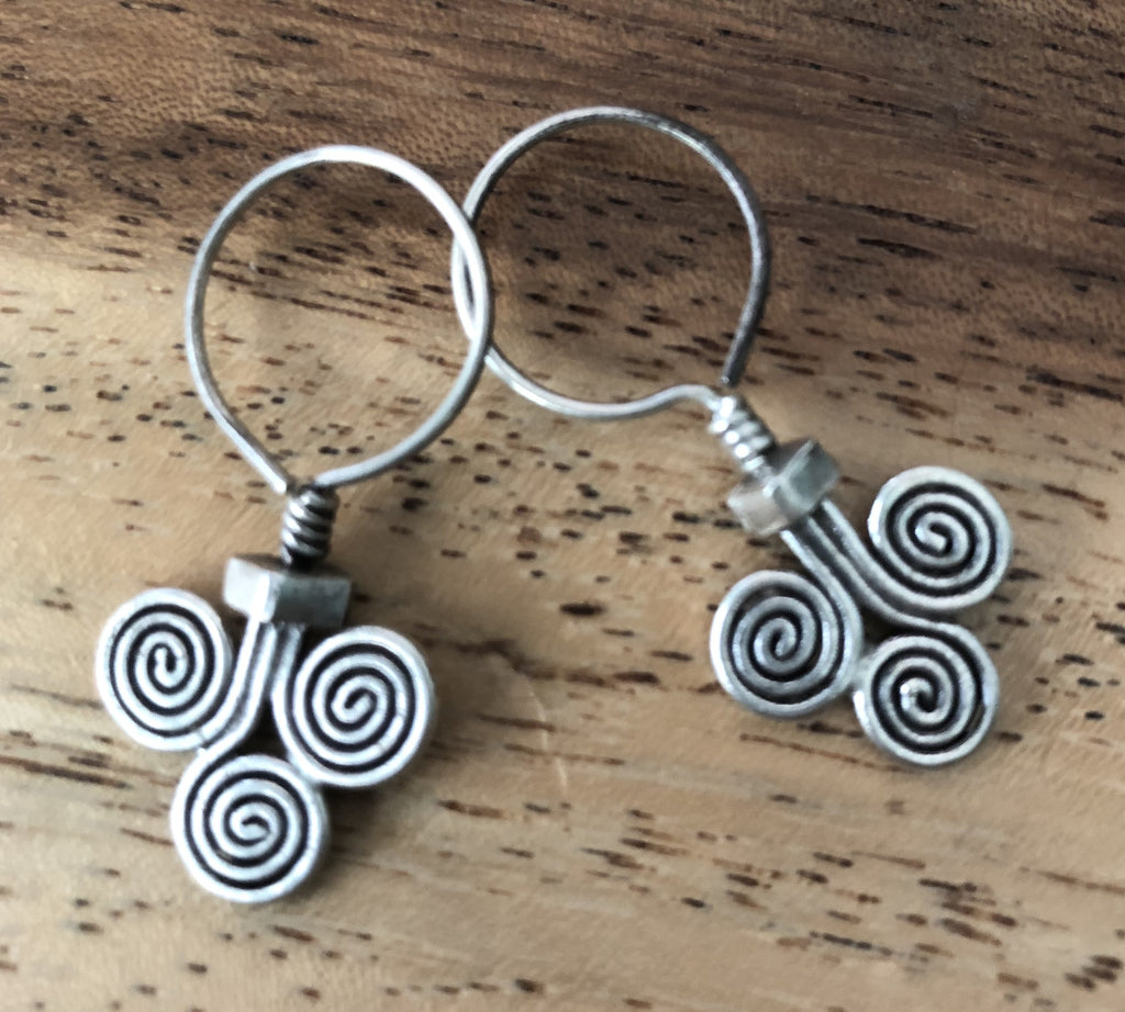 Handmade Sterling Silver Thai Hilltribe 3 Spiral Earrings