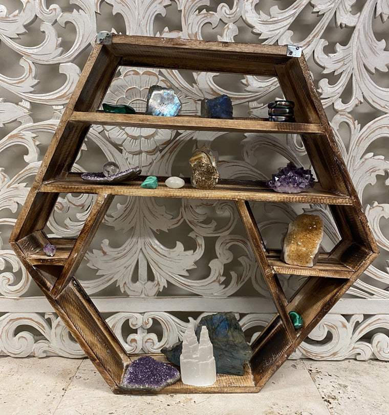 Arbesia Wood Wall shelf for your Crystal Collection! 23