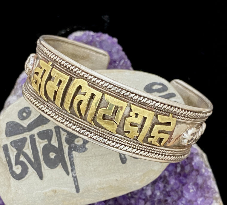 Sterling Silver Mantra Cuff Bracelet from Nepal