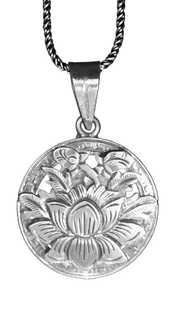 Beautifully Detailed Hand Cut Lotus Pendant