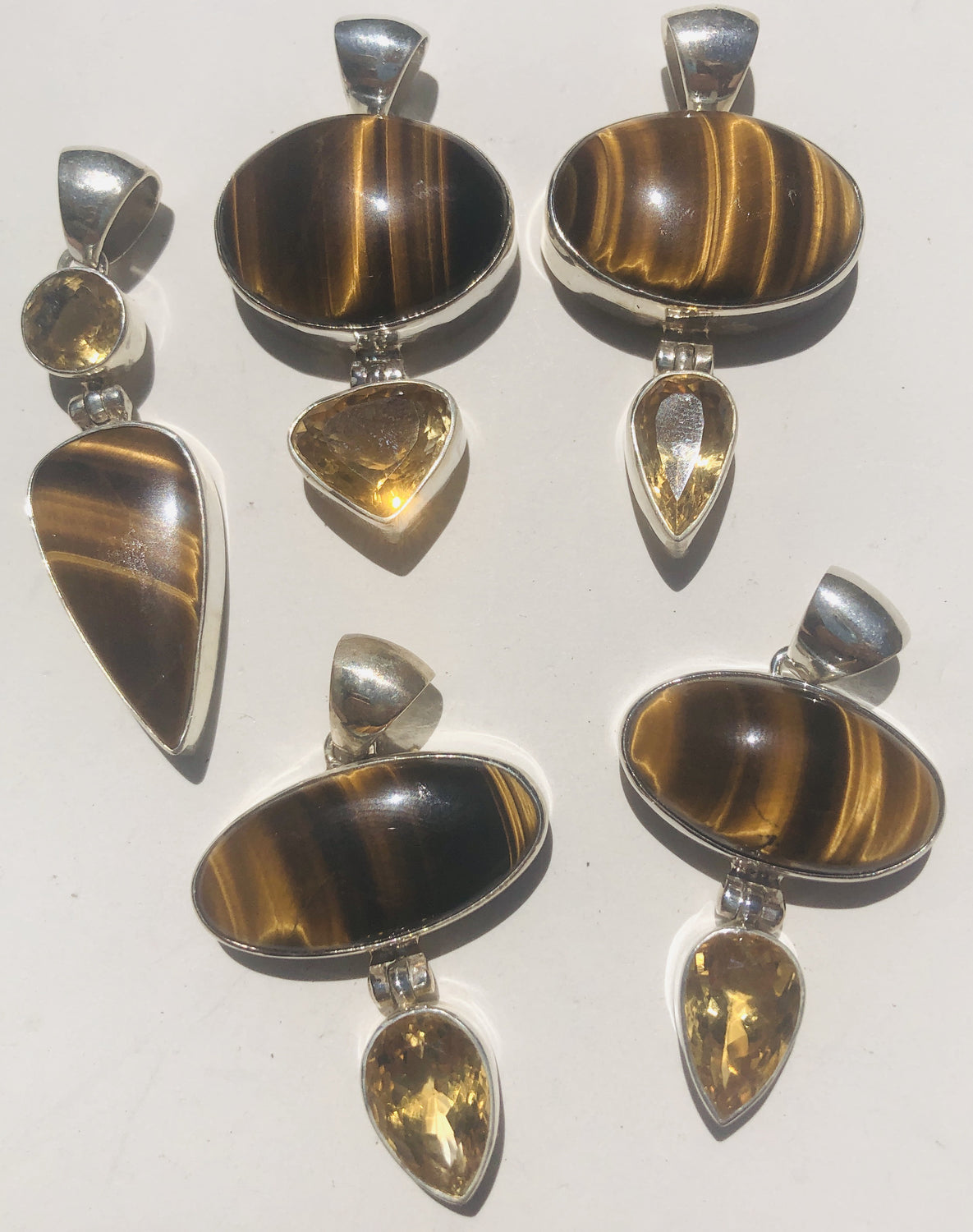 Sterling Silver (925) Citrine and Tigers Eye Pendants