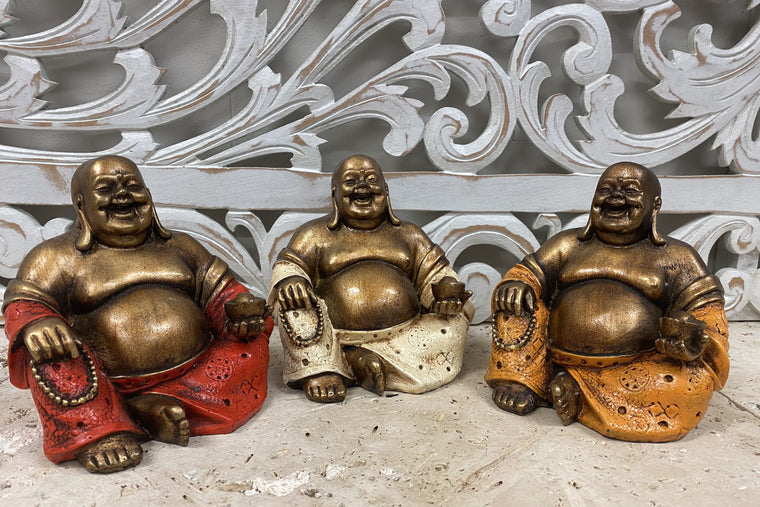 "Duplicate ""Hand Painted Resin Happy Buddha (HoTei) with Mala and Gold - Available in 3 Colors"