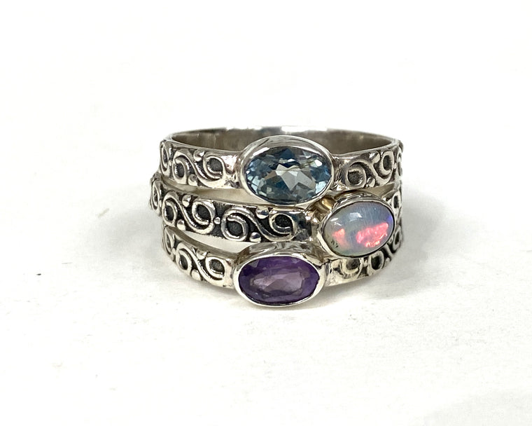 Sterling Silver Spiral Band Stack Rings -Available in 6 Stones Sizes 5-10