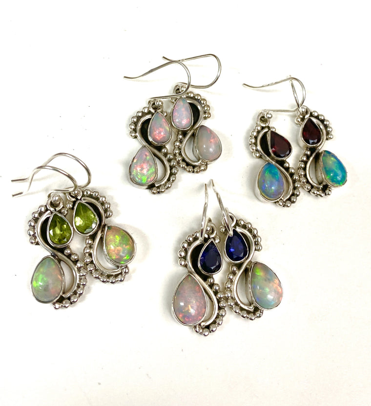 Beautiful Fiery Sterling Silver Ethiopian Opal  Earrings - Available in 4 combinations