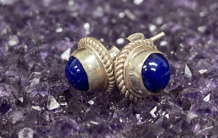 Sterling Silver Stud Earrings twisted wire bezel from Nepal- mixed stones