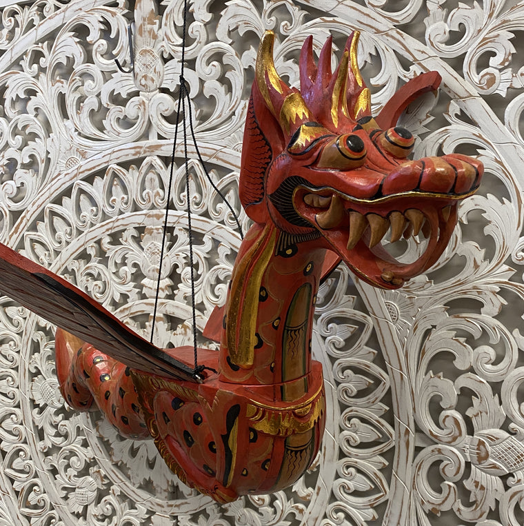 XXXL Hand Carved Flying Red Dragon Spirit Chaser