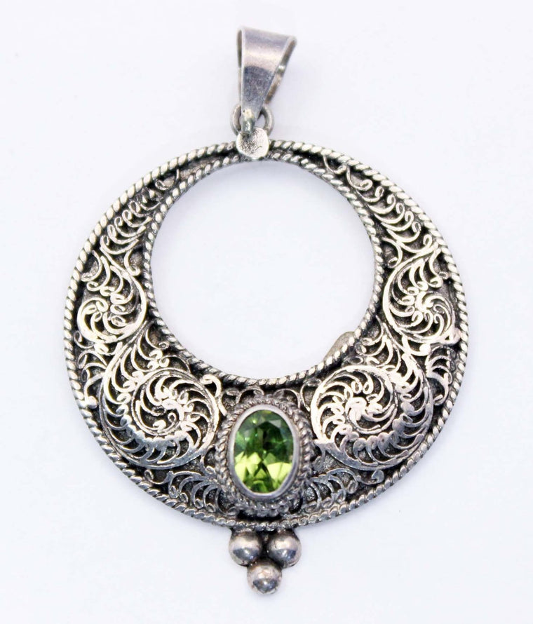 Sterling Silver Filligree Pendants - Available in 4 Stones