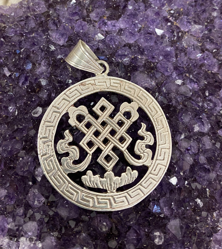 Hand Etched Sterling Silver Nepalese Endless Knot Pendant round