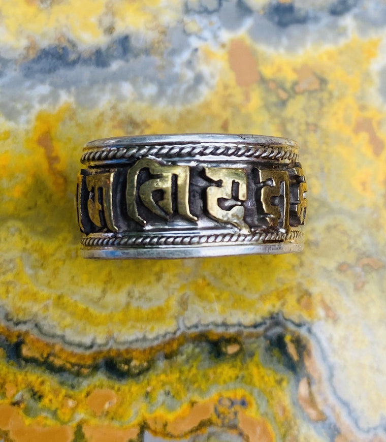 Sterling Silver Manta Ring from Nepal - Om Mani Padme Hum