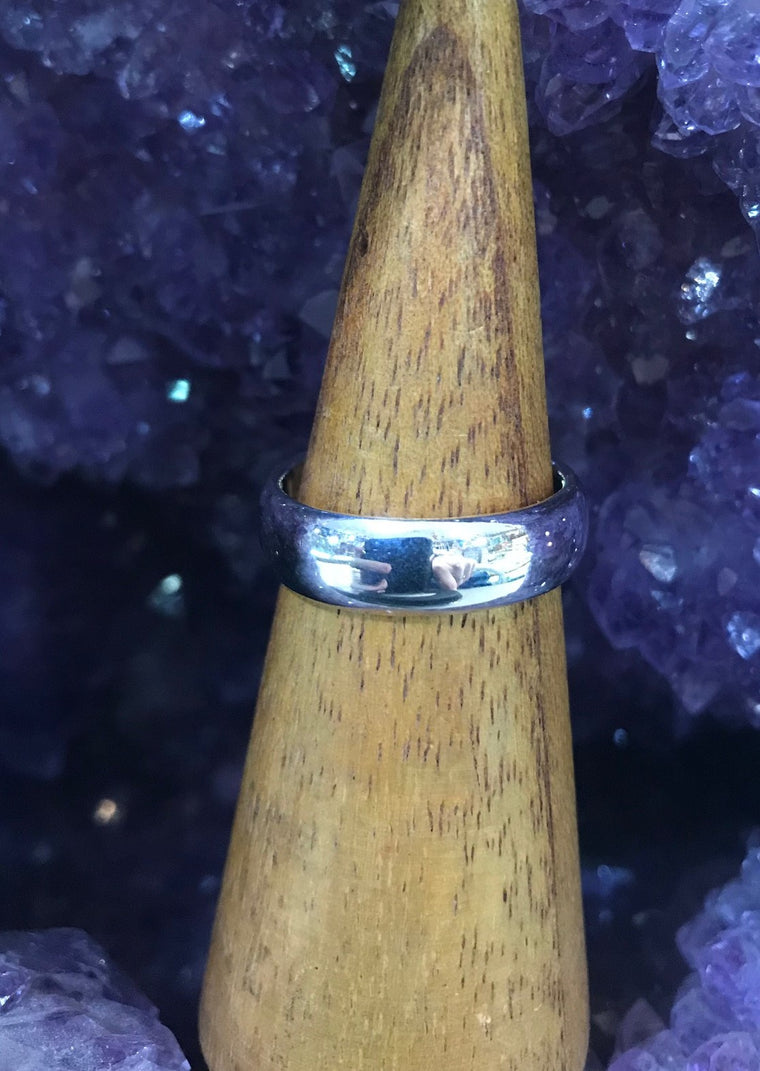PLAIN WIDE Silver BAND